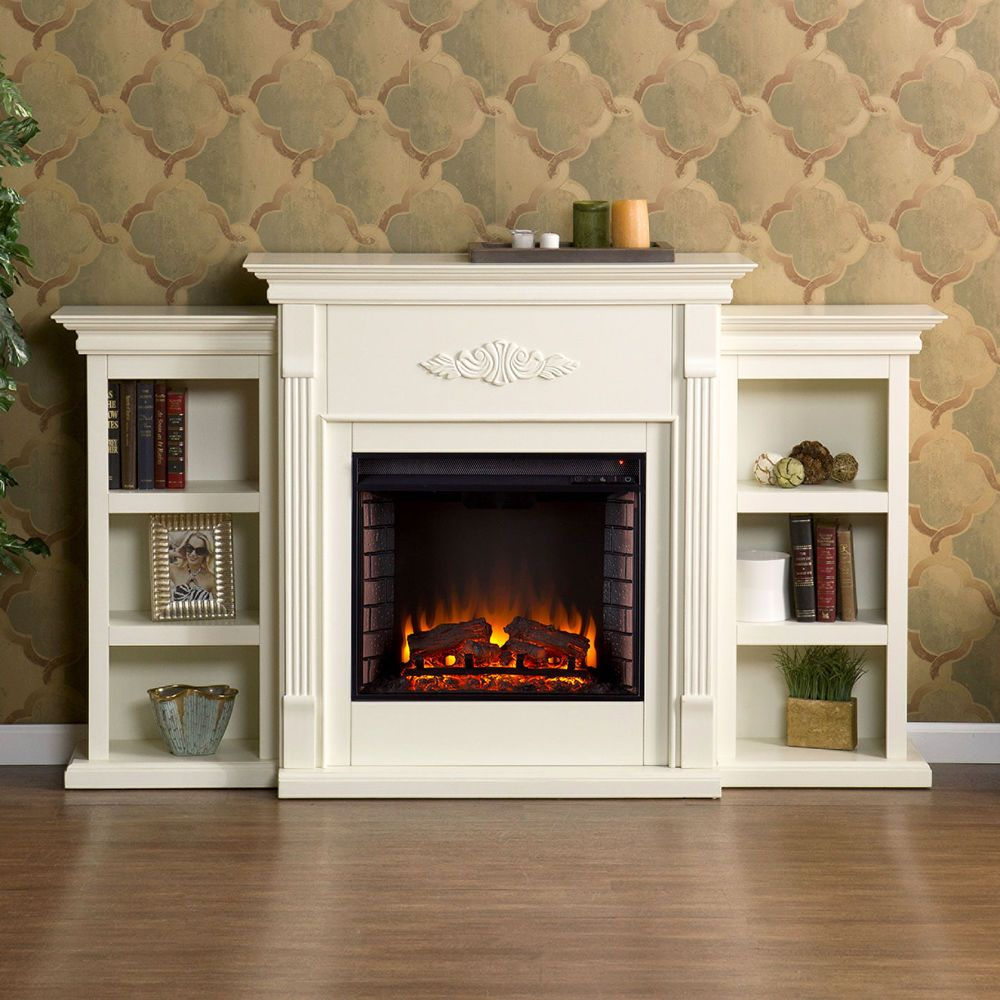 Fireplace Electric Heater Bookcase Storage Shelves White Tv Stand