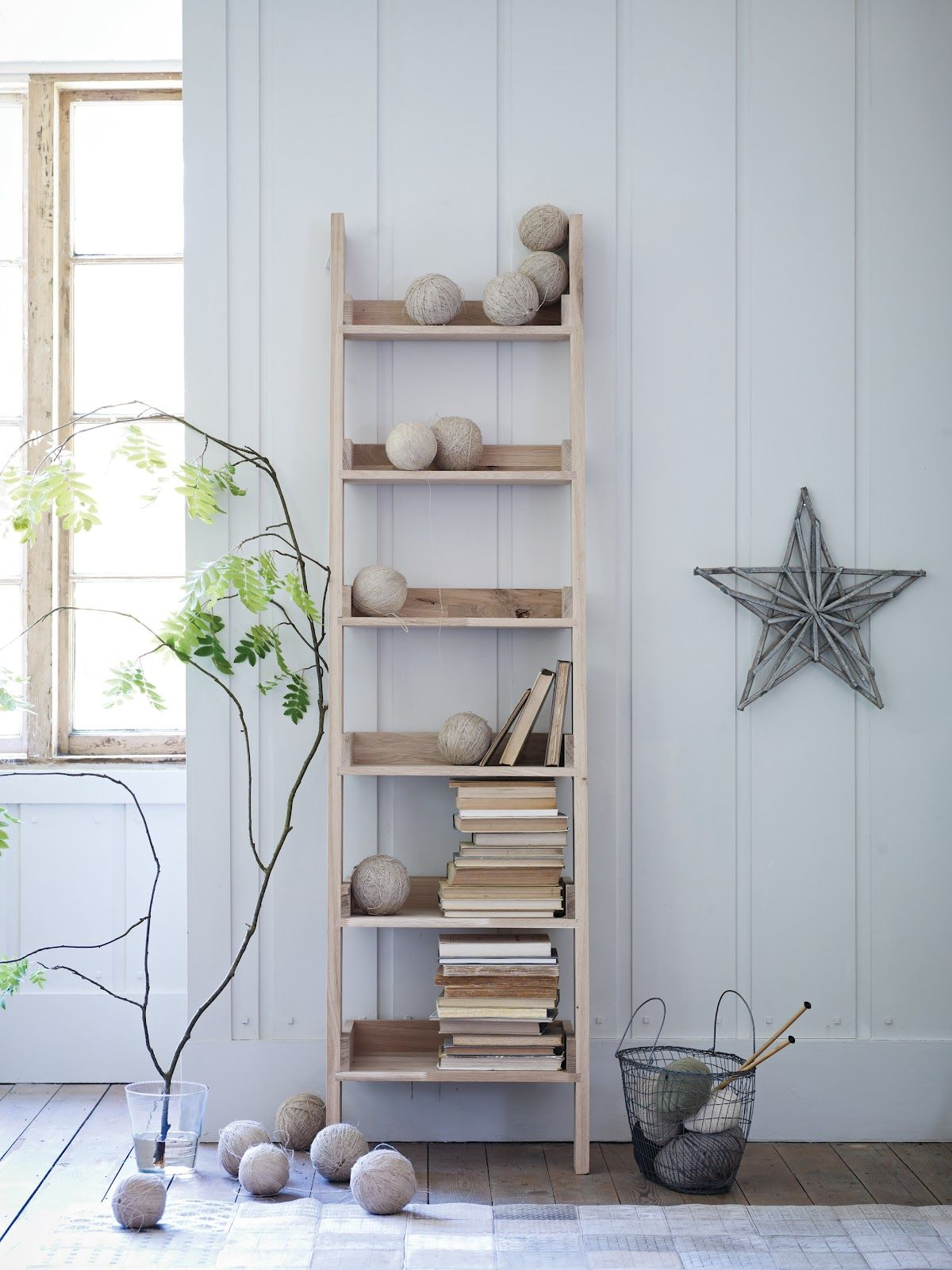 Attractive leaning ladder shelf for middle room design idea leaning