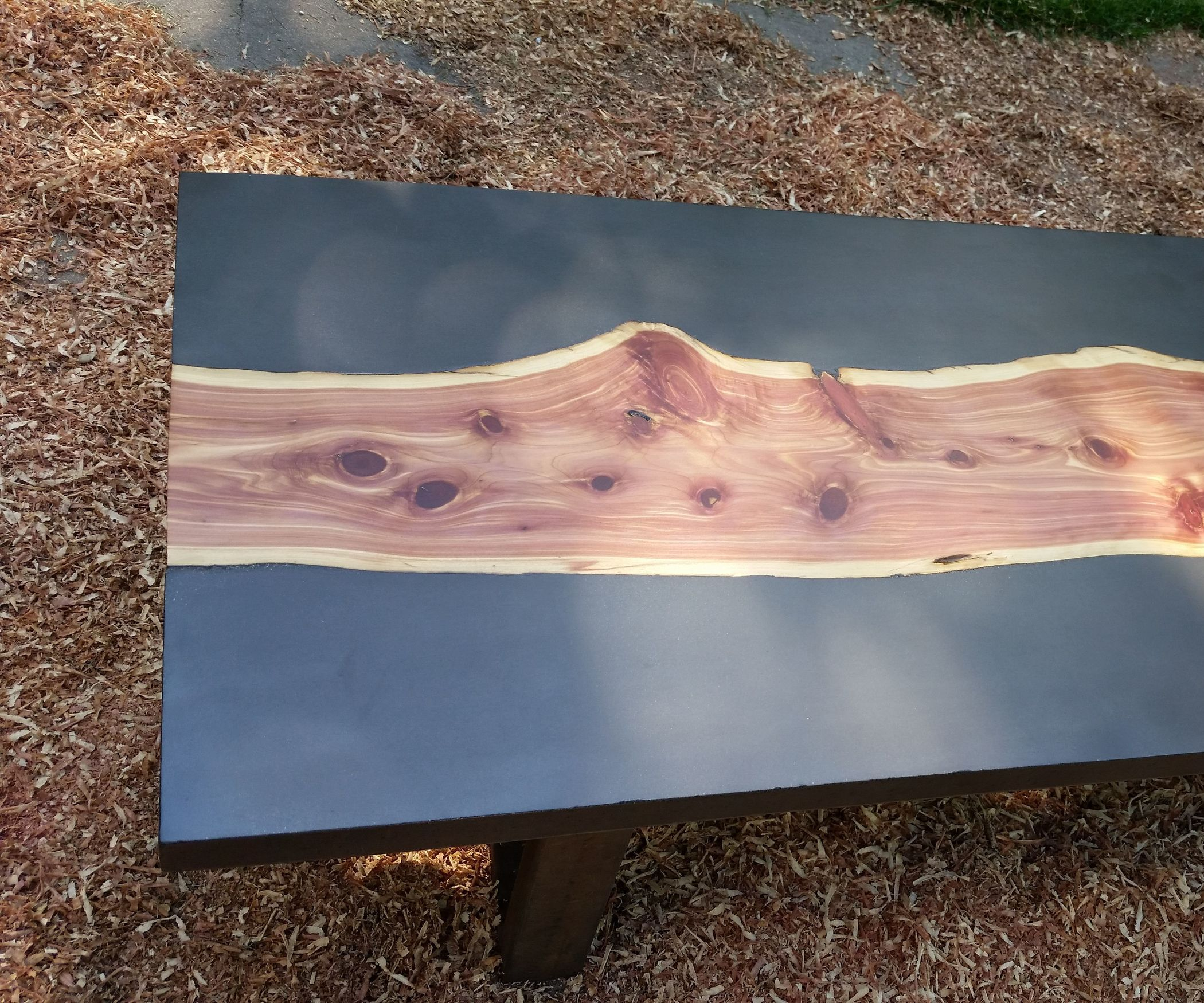Concrete And Wood Slab Table Wood Slab Table Plank Table Cedar Wood Projects