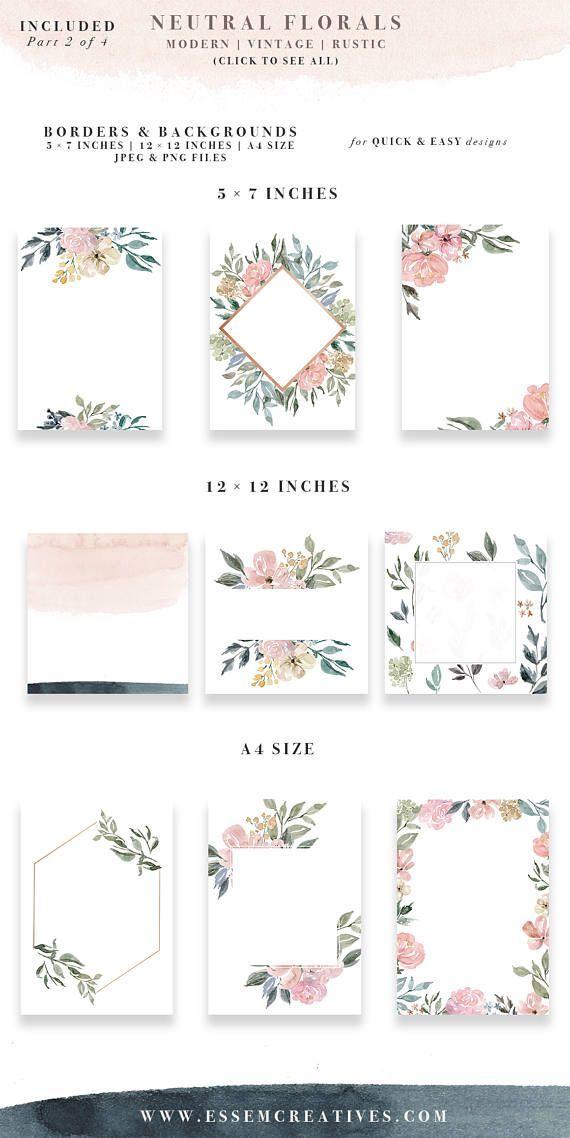 Neutral Watercolor Flowers Clipart, Watercolor Background, Rustic Vintage Geometric Floral Border Frame Clip Art, Wedding Invitation Clipart