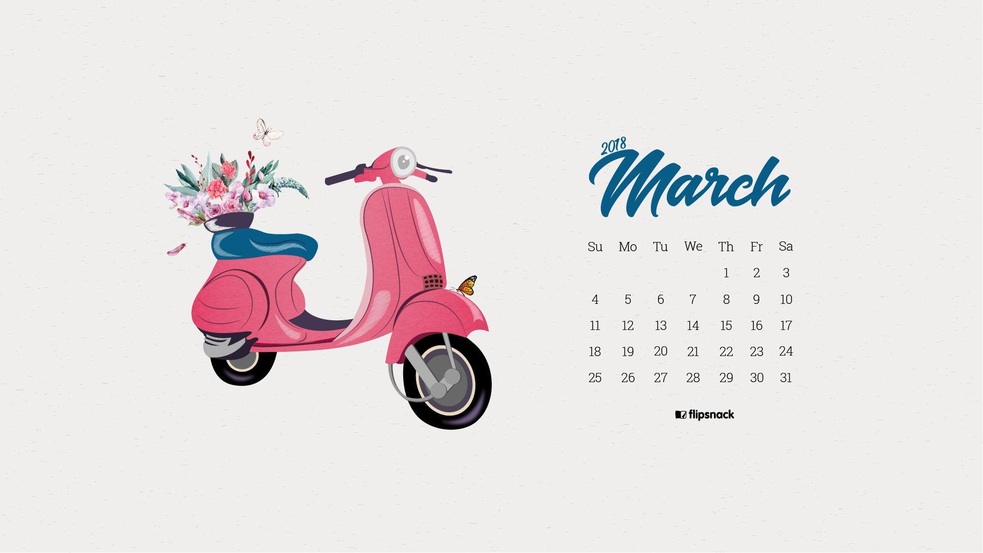 March 2018 free wallpaper calendar for desktop background