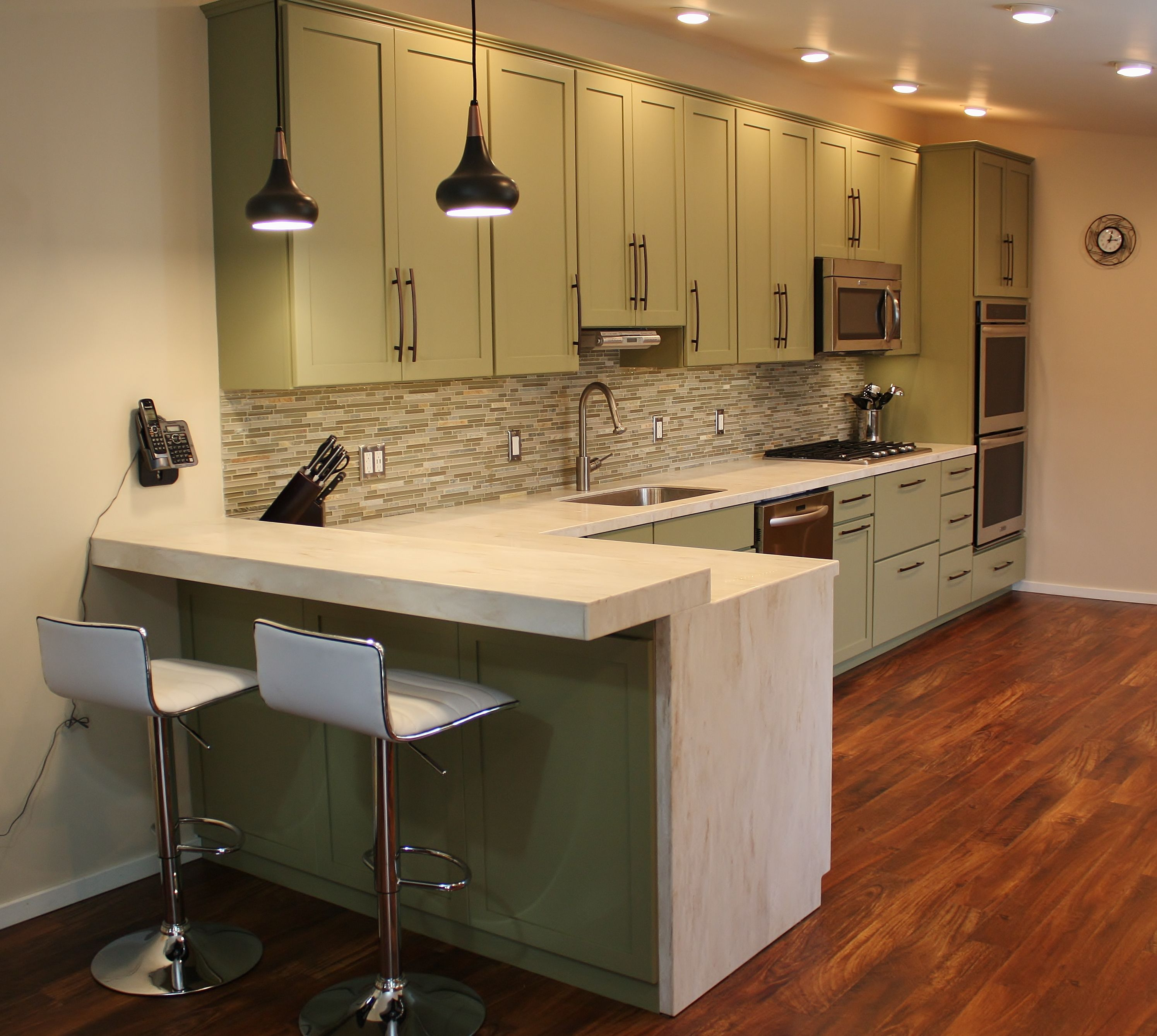Holiday Kitchen simple shaker cabinets Corian Solid Surface