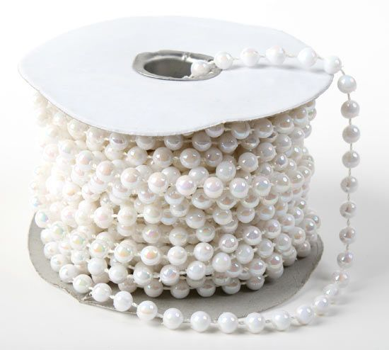 8 MM IRIDESCENT CLEAR BEADS ON STRING WEDDINGS BOUQUETS CRAFT PRICE PER 5 METRES