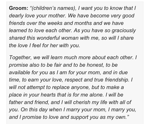 Stepchild Vows To Conner From Chase I M Going To Cry This Is Perfect Romantic Wedding Vows Wedding With Kids Step Kids