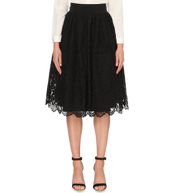 TED BAKER Izabel lace midi skirt (Black