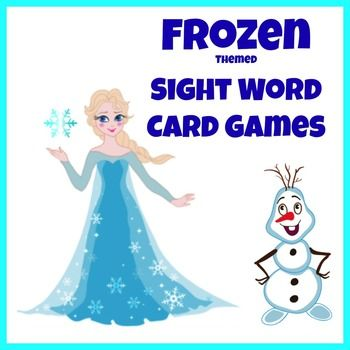 frozen themed sight word card games