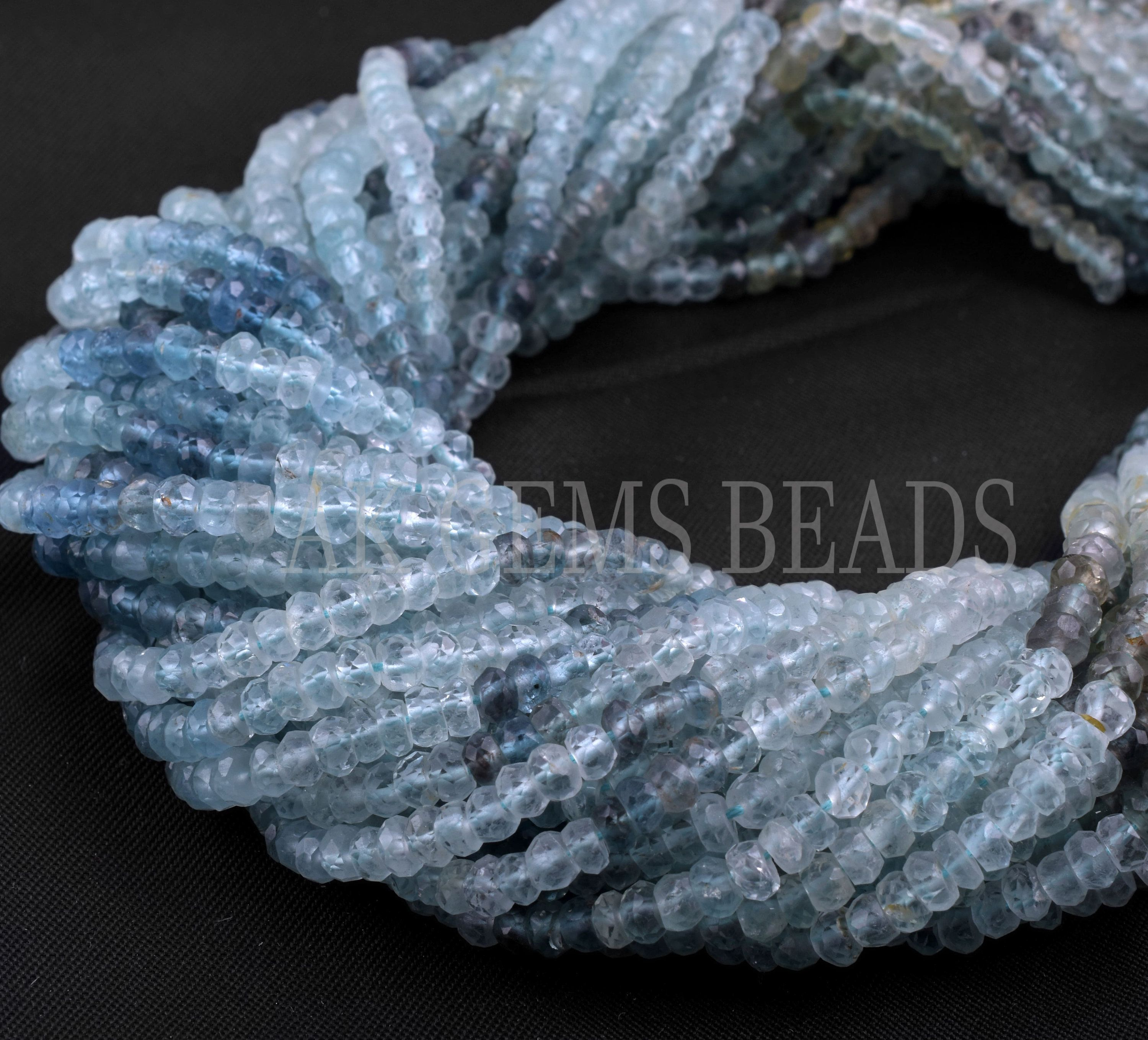 AAA green aquamarine  faceted beads strand 13 inches,3.5-4mm