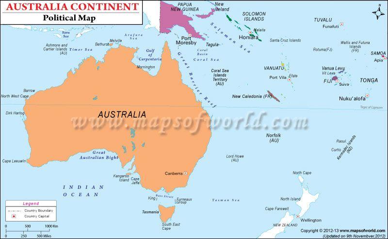 political map of australian continent australian continent political map