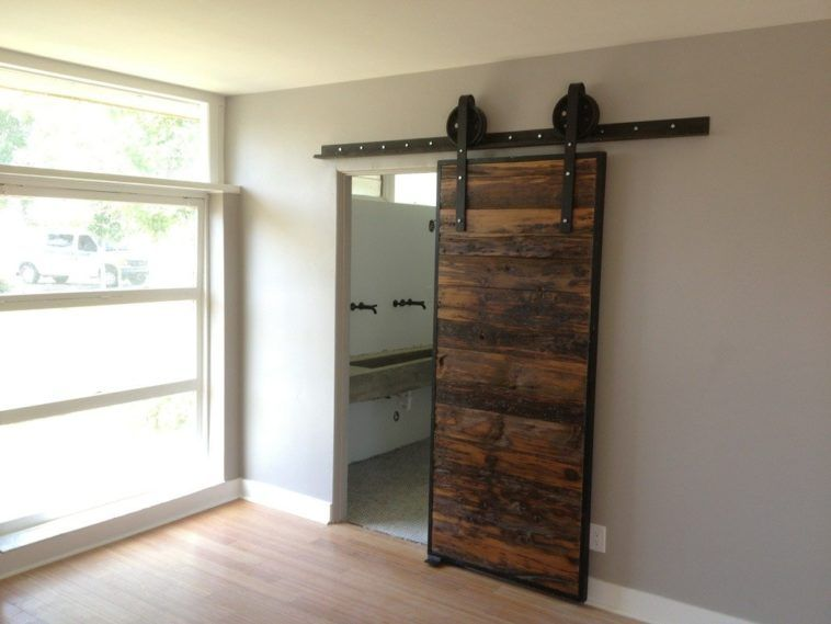 Rectangle Brown Wooden Barn Doors With Black Metal Frame And Metal