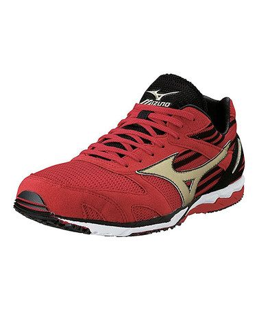 this gold  red wave ekiden running shoemizuno is