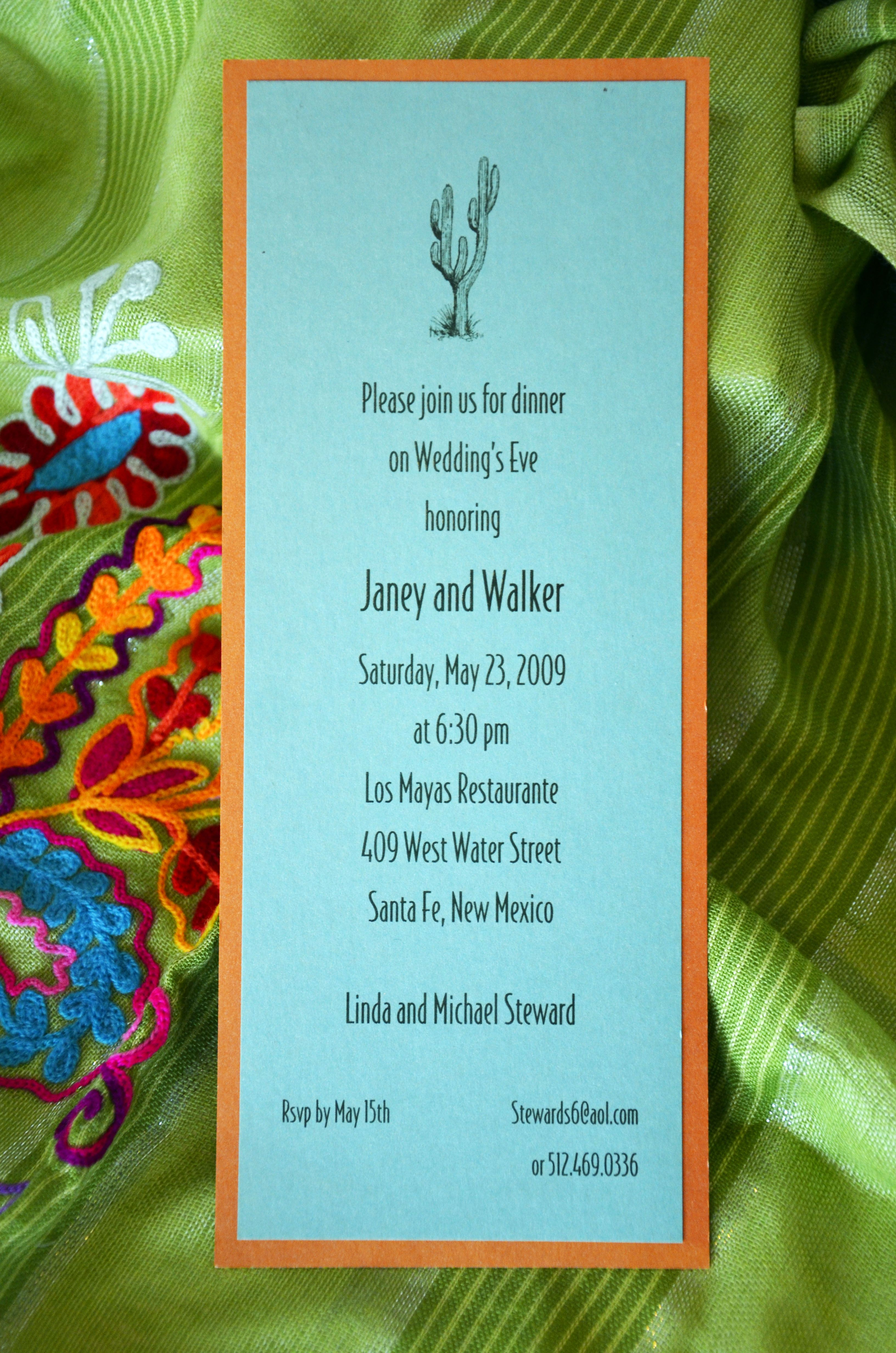 An invitation to the Rehearsal Dinner can be a complete departure from the style of the wedding invitation. Here, Janey and Walker wanted to keep the Santa Fe style in a contemporary and striking presentation. This rehearsal dinner invitation put the guests on notice that they would be having a colorful and fun evening with Santa Fe flair. The papers were layered to match their wedding colors but can be ordered in any combination with different artwork.