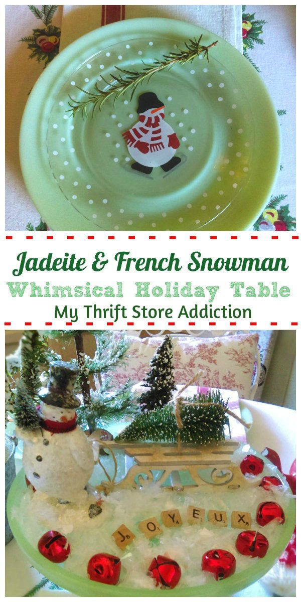 Vintage French Snowman Tablescape Friday\u0027s Find #226