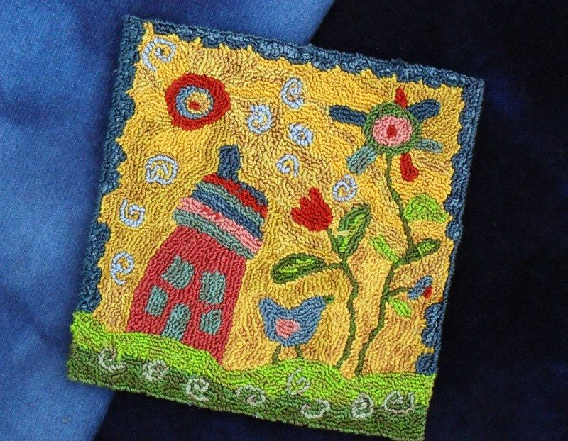 """PUNCH NEEDLE KIT - Primitive Folk Art Punch Needle Pattern/Kit (5"""" or 7"""") - """"There Was a Crooked House"""" - pinned by pin4etsy.com"""