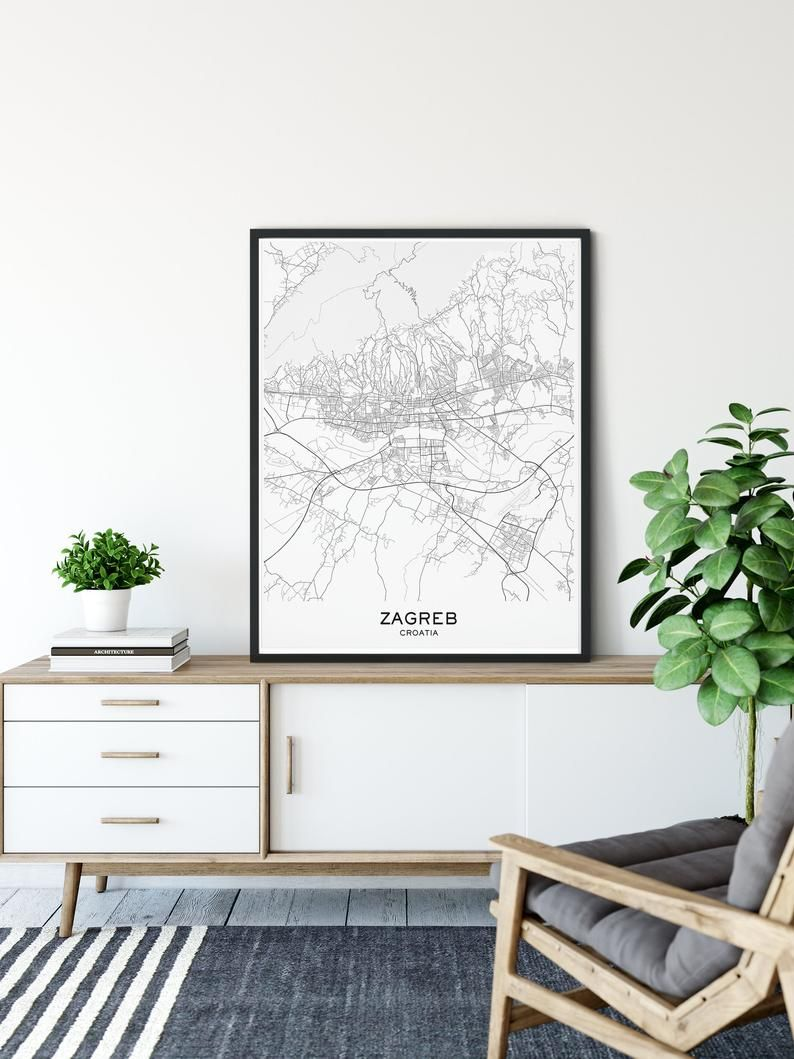 Zagreb Map Print City Map Prints Zagreb Map City Maps Etsy In 2020 Map Print World Map Decor Map Wall Art Decor