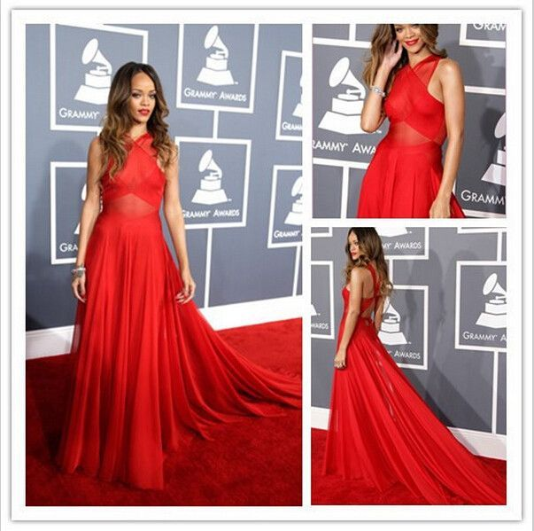 Red A-line crossing backless chiffon long floor-length ...