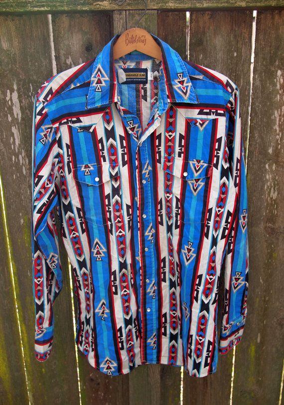 b6a83411d Vintage Pearl Snap Panhandle Slim Western Shirt / Southwestern / 90s /  Medium / Rodeo