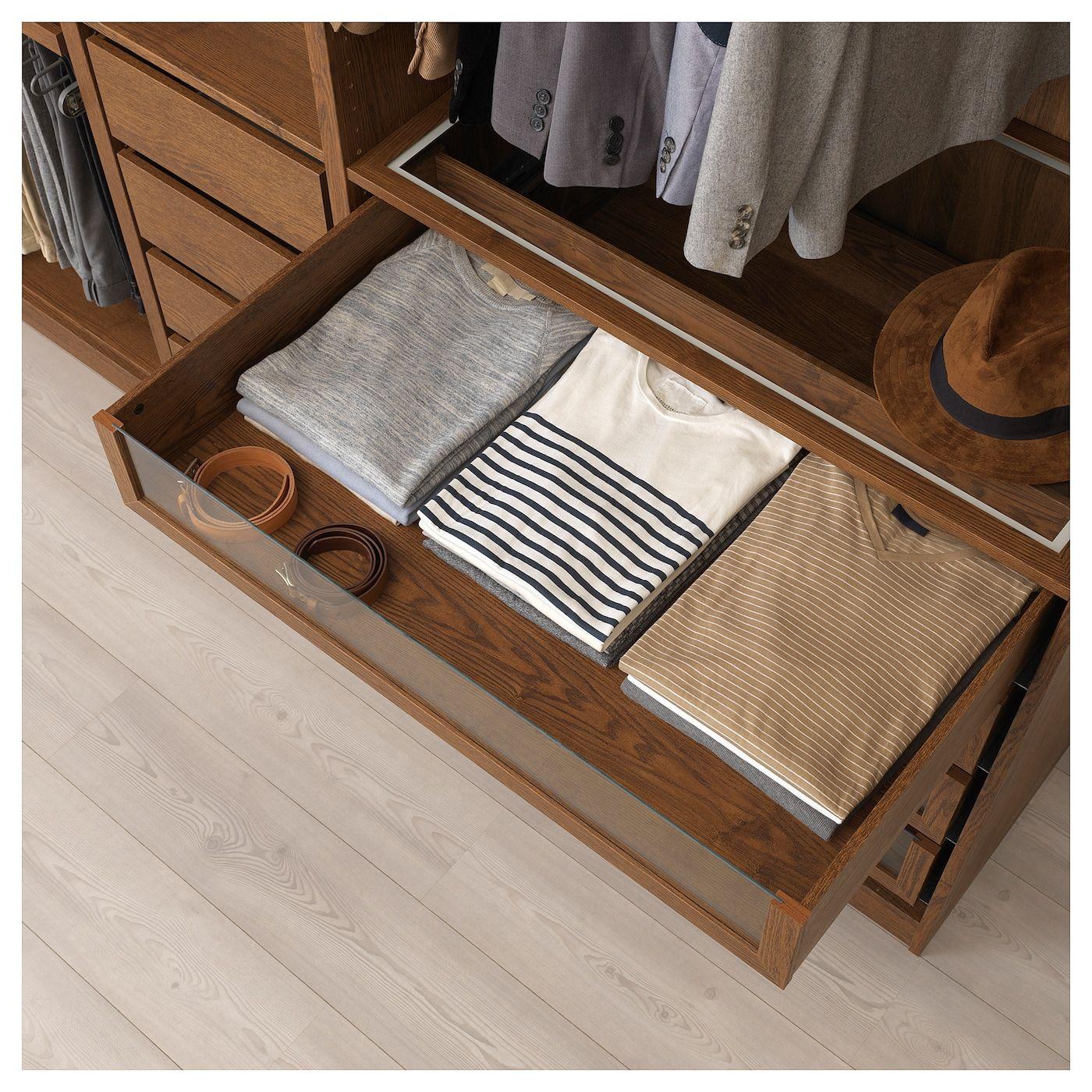 Ikea Tiroir Armoire Pax komplement glass shelf - brown stained ash effect en 2020