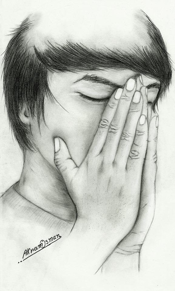 من رسوماتي القديمة بقلم الرصاص بكاء صامت أكرم عثمان Male Sketch Art Male