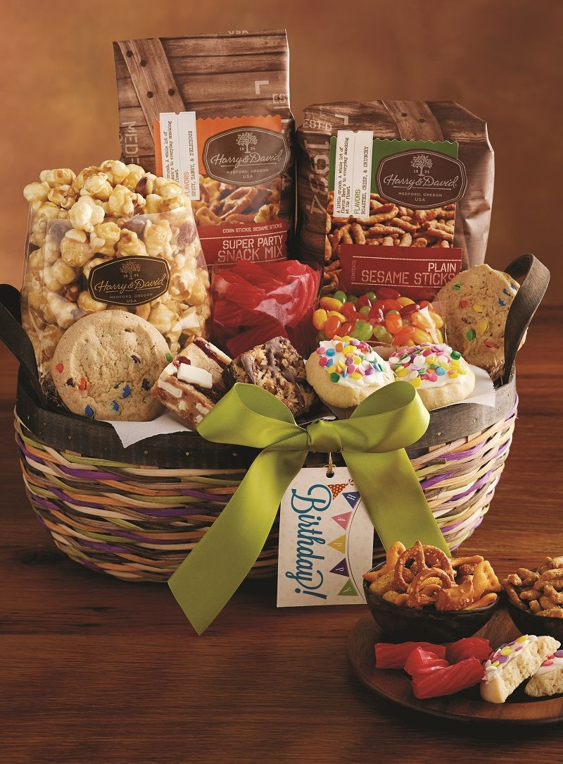 This Happy Birthday Gift Basket Puts Smiles On Every Face Its Filled With Gourmet Cookies Brownies Moose Munch Snack Mixes And More