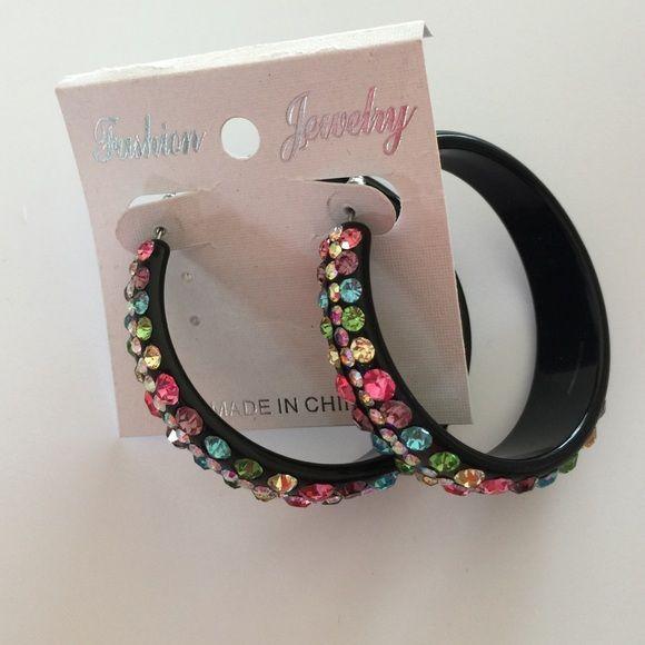 Earrings Bright beautiful multicolor rhinestone loop earrings Jewelry Earrings