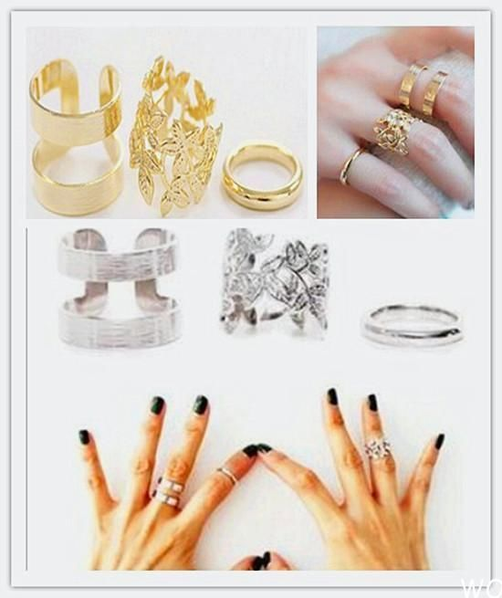 WO CA 3pcs Fashion Women's Metall Gold/Silver Leaf Above Knuckle Finger Ring Set