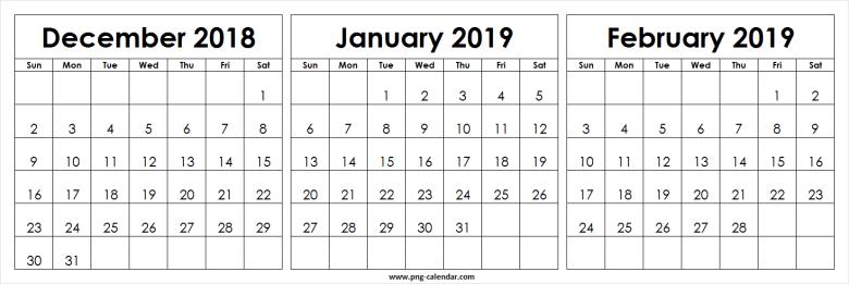 December 2018 January February 2019 Calendar Template 555