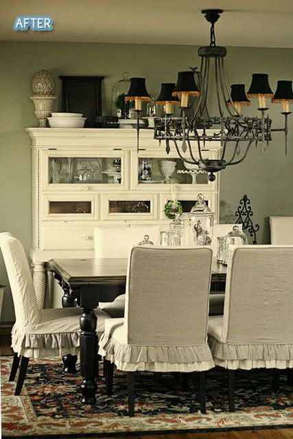 Ruffled Chair Covers For Slipcovers Use A Drop Cloth The Size Of Chandelier