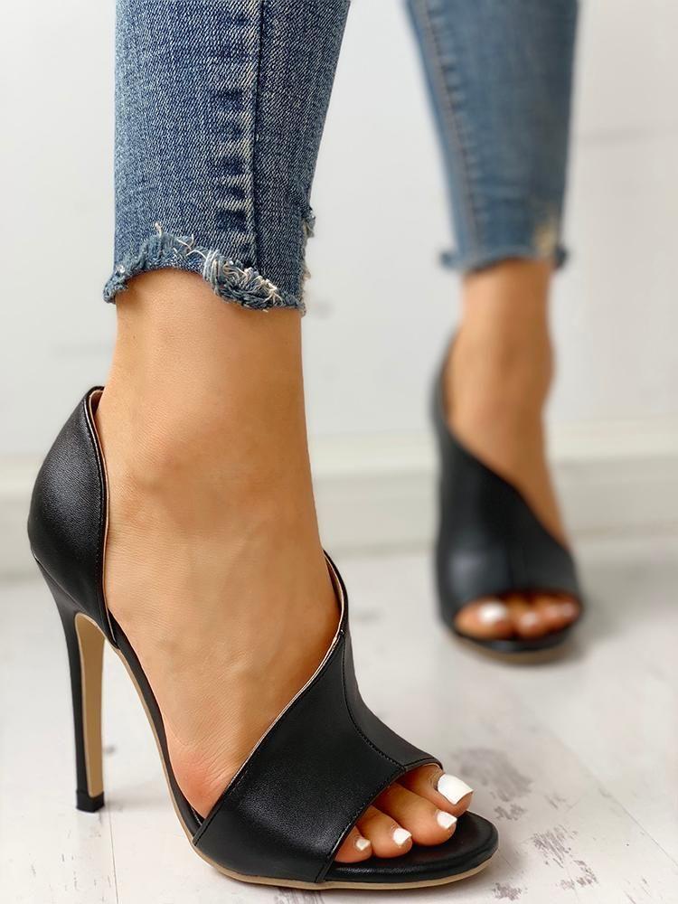 d1d5d1bd9d38 PU Cutout Peep Toe Thin Heeled Sandals