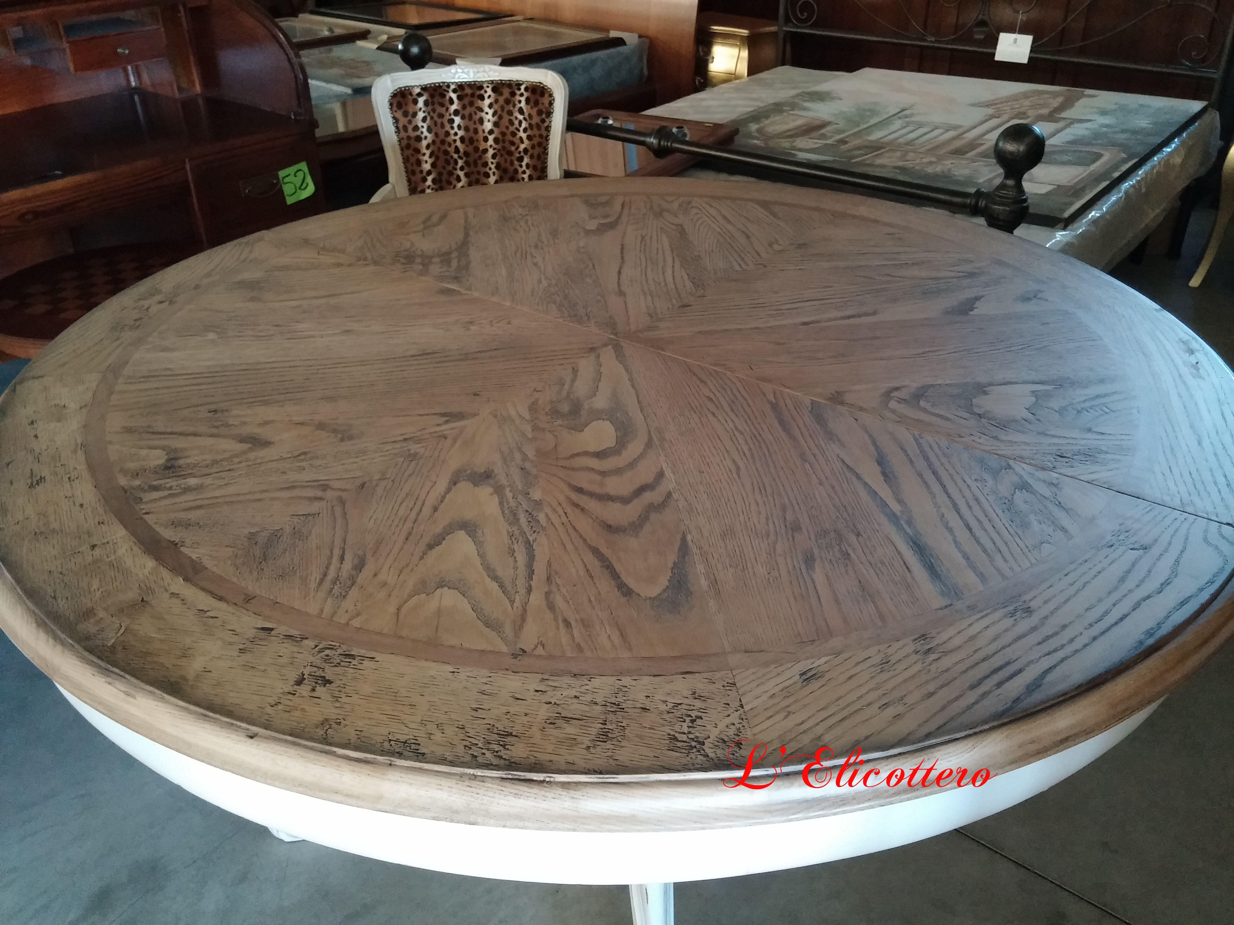 Tavolo Tondo Laccato Bianco.Tavolo Rotondo Con Piano In Rovere Gambone Laccato Bianco Antico