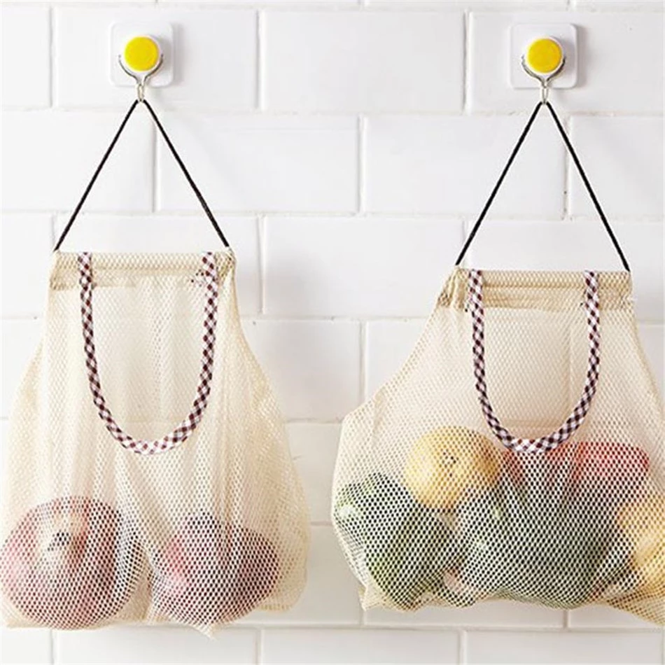 Hanging Mesh Storage Bag Kitchen Vegetable Bag Onion
