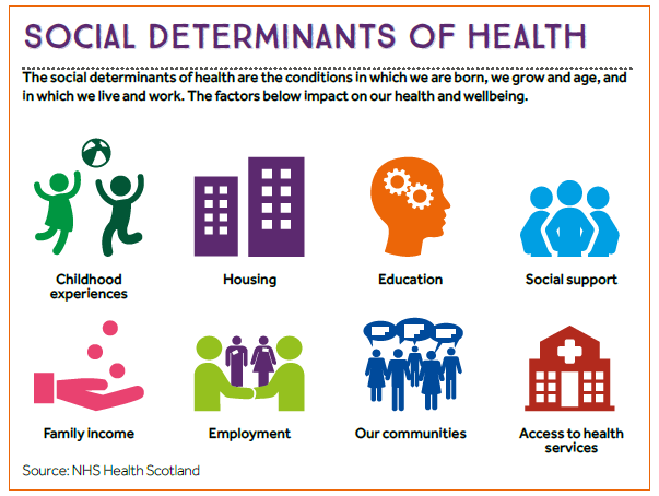 An Infographic Using 8 Icons To Represent Each Of The Social Determinants Of Health Listed In The With Images Public Health Career Community Health Nursing Health Careers