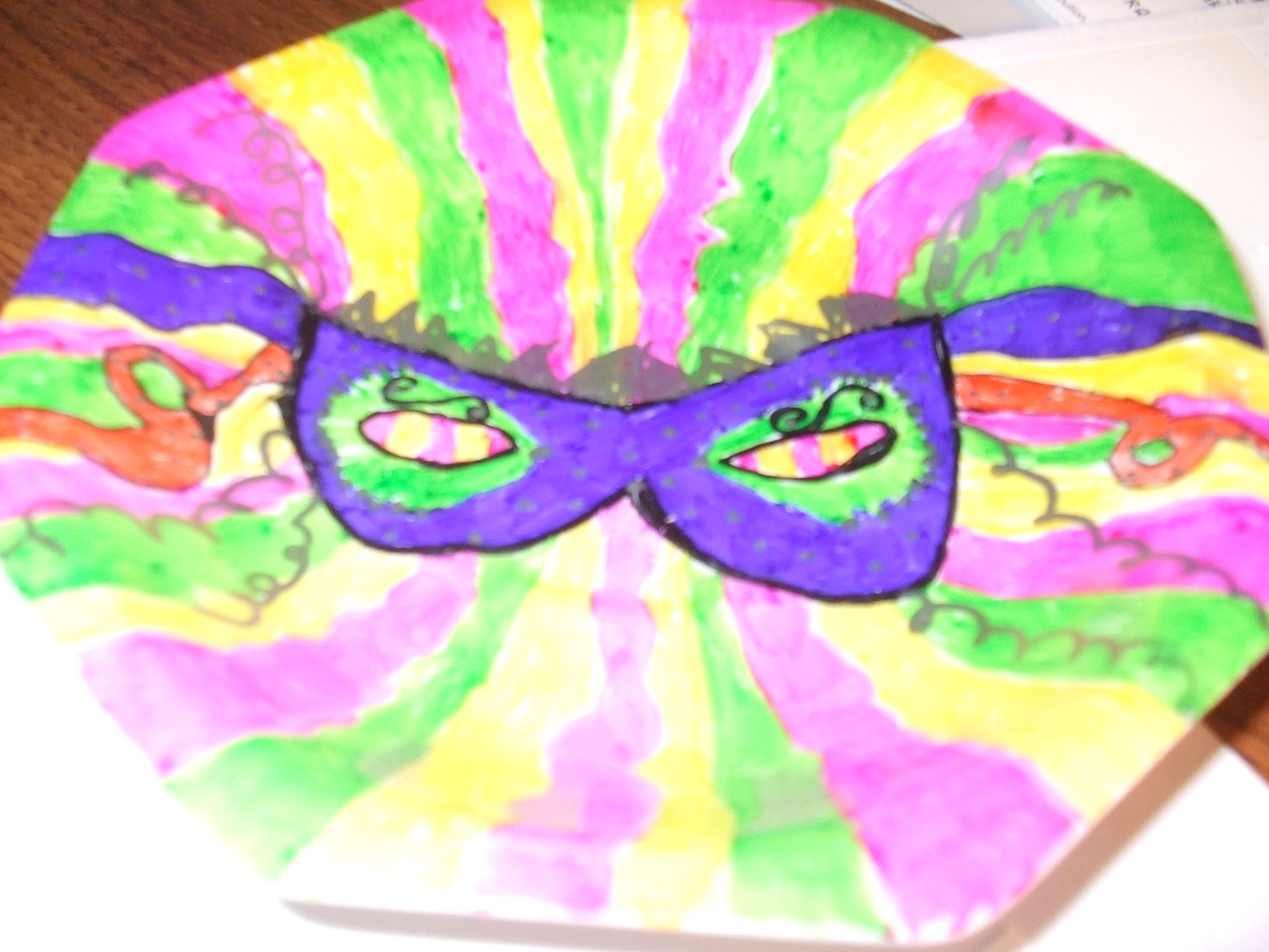 Painted plate with permanent marker tie dye dyed tops