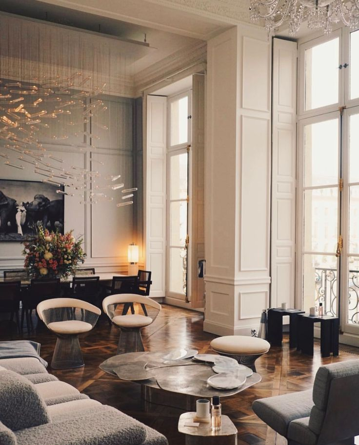 French interiors inspired living space large windows and white washed walls also rh pinterest