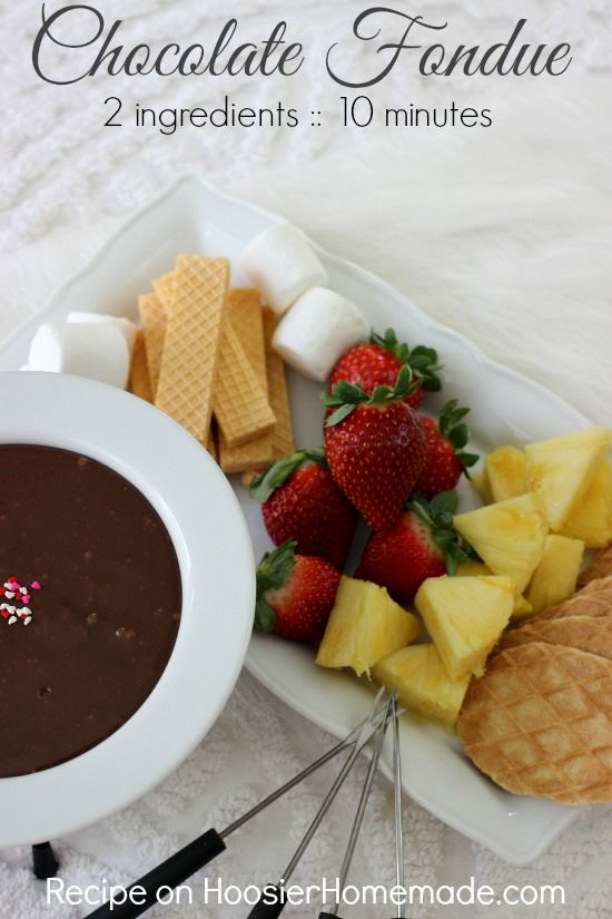 Chocolate Fondue 2 Ingredients And Only 10 Minutes Of Time Recipe On Hoosierhomemade Com Chocolate Fondue Recipe Desserts Eat Dessert