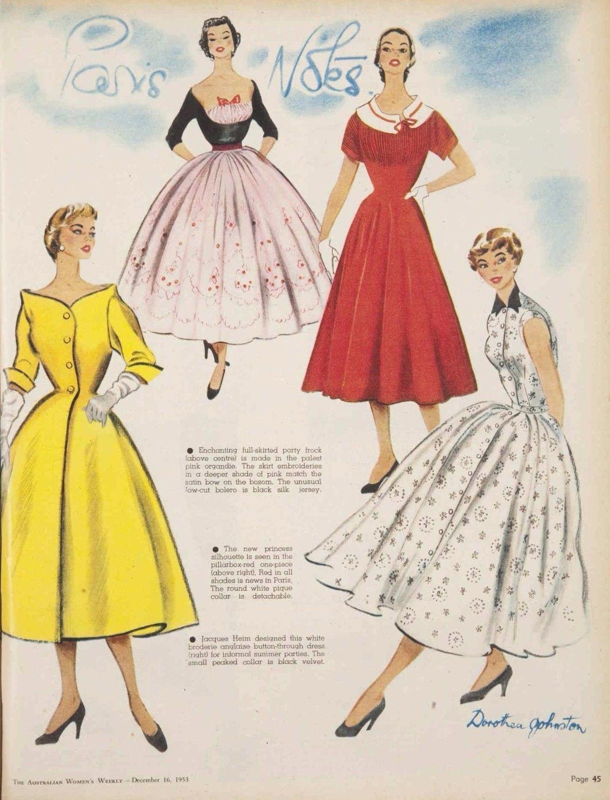 1953 Original PARIS NOTES VINTAGE JACQUES DRESS COUTURE AUSTRALIAN fashion art…