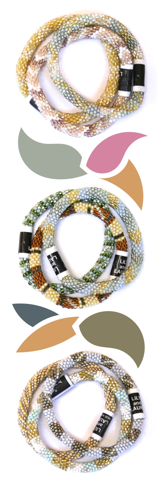 Lily & Laura bracelet sets inspired by the Pantone Fall 2015 Fashion Report — These simple yet stunning authentic Lily and Laura bracelets are hand-crocheted with cotton and glass beads. They can stretch to roll on over any hand. Click for details about Free Shipping.