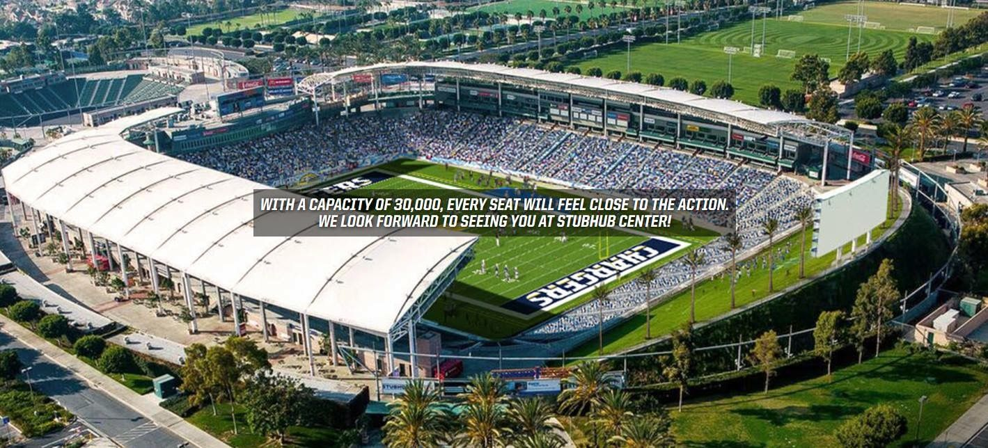 Stub Hub Center New Home Of The La Chargers For 2017 2018 Nfl Seasons Los Angeles Chargers Nfl Stadiums Stubhub Center