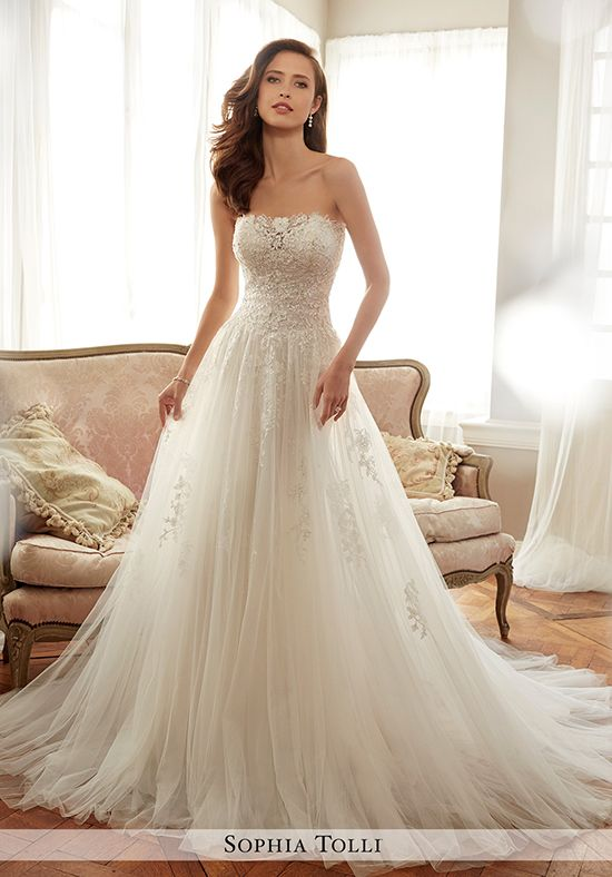 Strapless Tulle Soft A-Line Gown   Sophia Tolli Y11706 Harriet ...