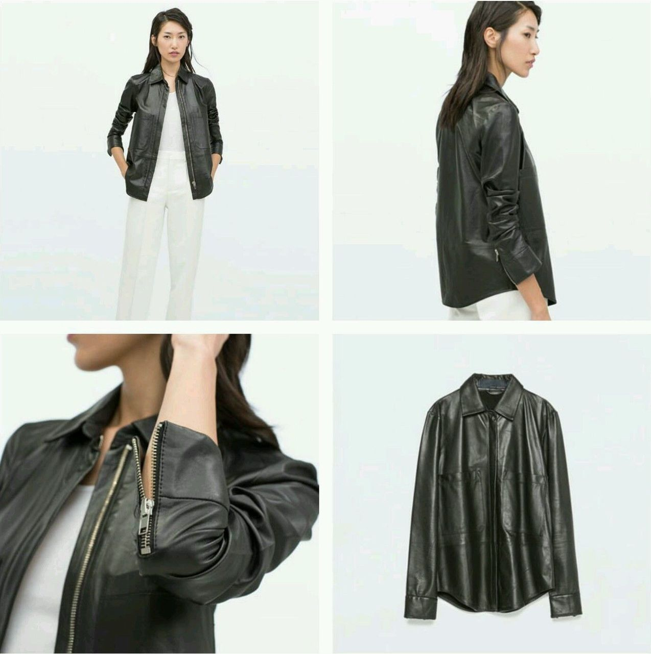 Zara STUDIO Black Lambskin Leather Jacket Beautiful