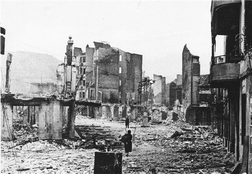 26 April 1937 - The Basque town  Gernika was bombed and destroyed by German aviation. In this foto a central street of Gernika a day later.