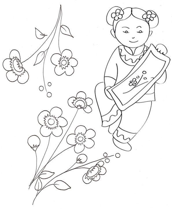 Coloriage sur la chine petite chinoise au cerisier t te modeler coloring china fairy - Coloriage tete a modeler ...