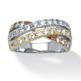 Plus Size 1.15 TCW Cubic Zirconia Twist Ring in Yellow Gold Tone, Silvertone and Rose Gold-Plated image