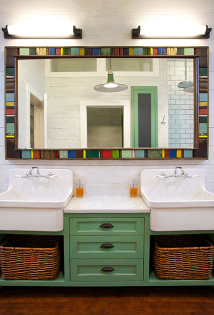 Green Bathroom Vanity With Wash Sinks. Love The Sinks, However The Vanity  Is Not
