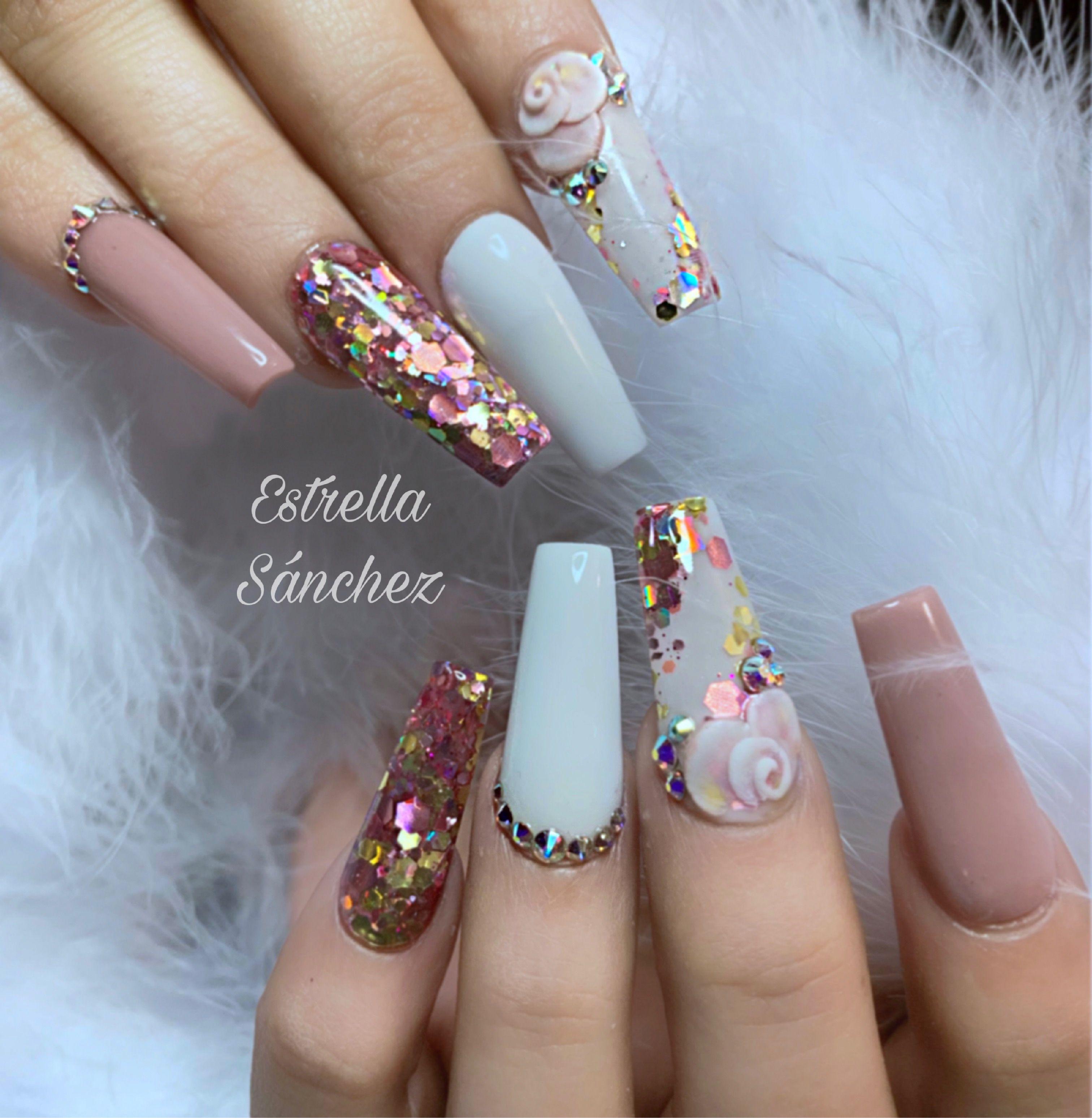 Nails Whitenails Glitternails Longnails 3d Nail Designs 3d Nail Art Designs Nail Art Designs