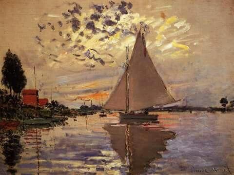 Sailboat at le Petit-Gennevilliers Claude Oscar Monet