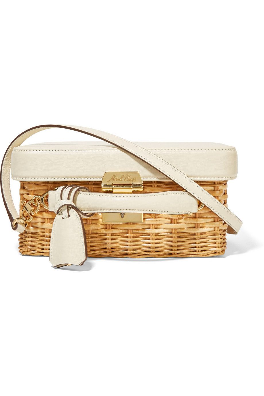Mark Cross | Grace rattan and textured-leather shoulder bag