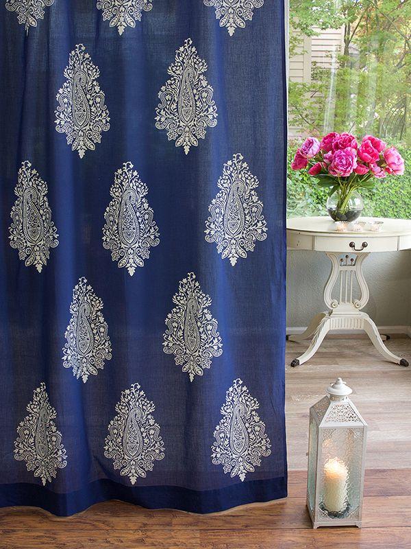 Mood Indigo Modern Navy Blue White Paisley Sheer Curtain Panel