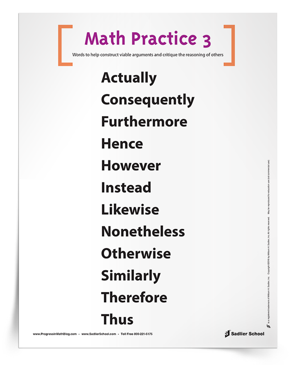 Math Practice 3 Vocabulary To Construct Viable Arguments And Critique The Reasoning Of Others Poster Math Practices Maths Activities Middle School Math Blog