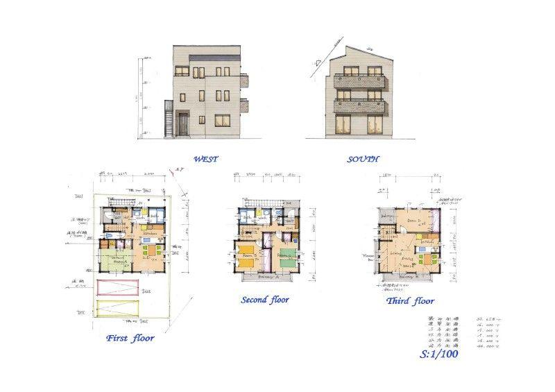 延べ床面積33.7坪の三階建て/二世帯住宅 注文住宅の間取り ...