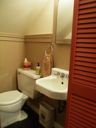 half bath under the stairs   tiny house bathroom, small